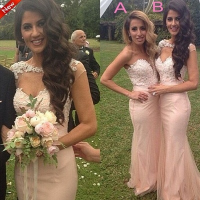 Pink Lace Applique Sexy Trumpt Bridesmaid Dresses UK Long Maid of Honor Dresses_2