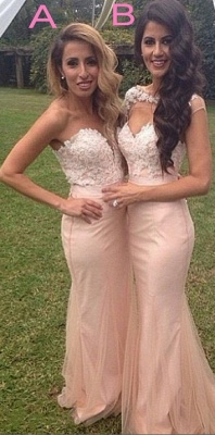 Pink Lace Applique Sexy Trumpt Bridesmaid Dresses UK Long Maid of Honor Dresses_1