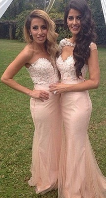 Pink Lace Applique Sexy Trumpt Bridesmaid Dresses UK Long Maid of Honor Dresses_3