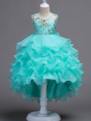 Puffy Organza Satin Appliques Layered Ruffles Hi-Lo UK Flower Girl Dress