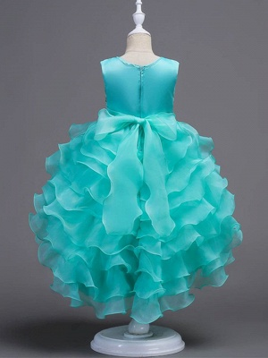Puffy Organza Satin Appliques Layered Ruffles Hi-Lo UK Flower Girl Dress_3