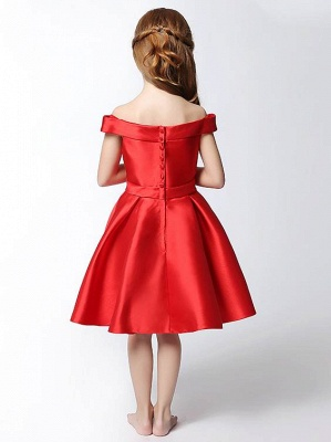 Modest Matte Satin Off-The-Shoulder Knee-Length UK Flower Girl Dress with Bowknot_3