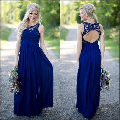 Midnight Blue Bridesmaid Dresses UK Lace Top Chiffon Open Back Summer Maid of the Honor Dresses_3