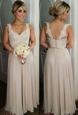 Straps Summer Floor-length Lace Buttons Bridesmaid Dresses UK_3