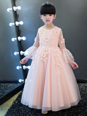 Cute Tulle Lace Long Sleeves Appliques UK Flower Girl Dress
