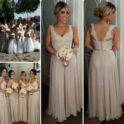 Straps Summer Floor-length Lace Buttons Bridesmaid Dresses UK_2