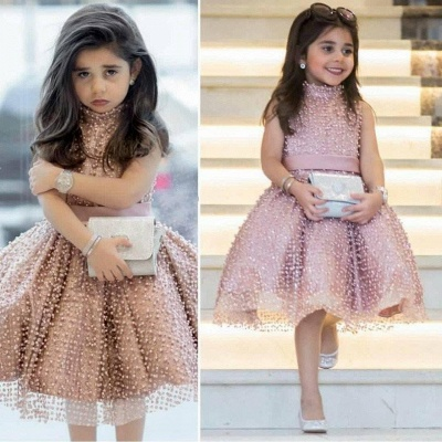 Chic Puffy UK Flower Girl Dresses | High Neck Pearls Short Pageant Dresses_3