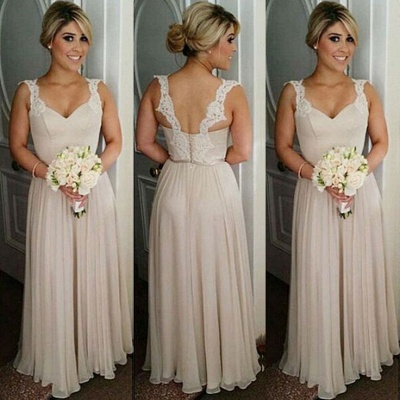 Straps Summer Floor-length Lace Buttons Bridesmaid Dresses UK_1