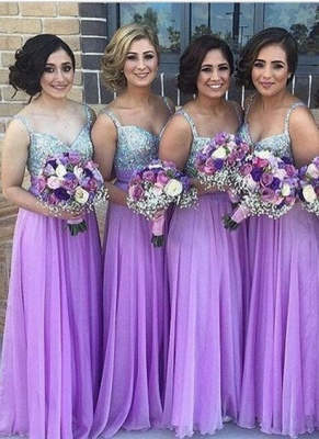 Lilac Long Bridesmaid Dresses UK Straps Chiffon Floor Length Maid of Honor Dresses_1