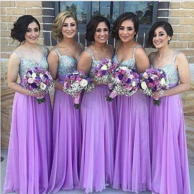 Lilac Long Bridesmaid Dresses UK Straps Chiffon Floor Length Maid of Honor Dresses_3
