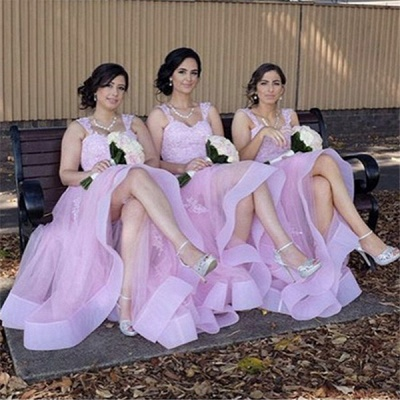Elegant Tulle Lace Appliques Straps Summer Bridesmaid Dresses UK_2