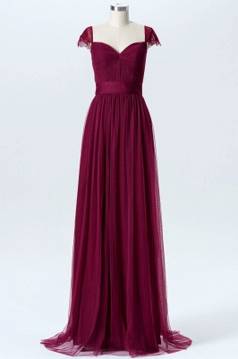 Summer Chiffon Tulle Bridesmaid Dresses UK | Cap Sleeves Sweetheart Maid of the Honor Dresses_1