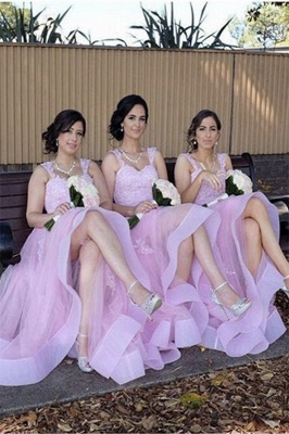 Elegant Tulle Lace Appliques Straps Summer Bridesmaid Dresses UK_1