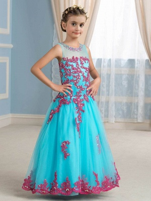 Cute Tulle Scoop Sleeveless Appliques UK Flower Girl Dress with Beading