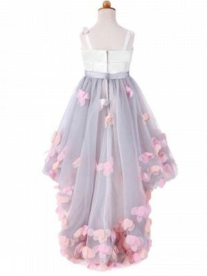 Cute Tulle Straps Bowknot Sweep Train UK Flower Girl Dress_3