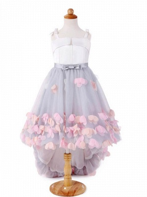 Cute Tulle Straps Bowknot Sweep Train UK Flower Girl Dress