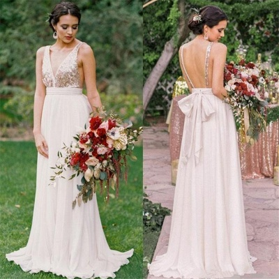 Open Back Bridesmaid Dresses UK Cheap | V-neck Sequins Chiffon Maid of Honor Dress Spring_3