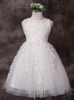 Cute Tulle Jewel Applique Knee-Length UK Flower Girl Dress