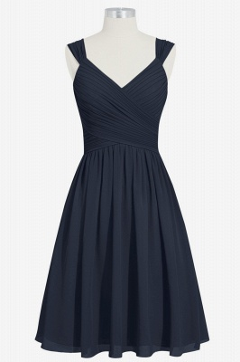Summer Chiffon Ruffle Two Straps knee Length Bridesmaid Dresses UK_1