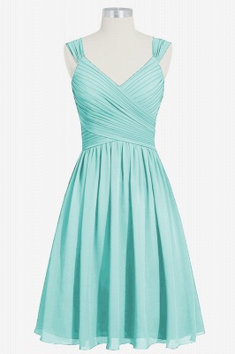 Summer Chiffon Ruffle Two Straps knee Length Bridesmaid Dresses UK_5