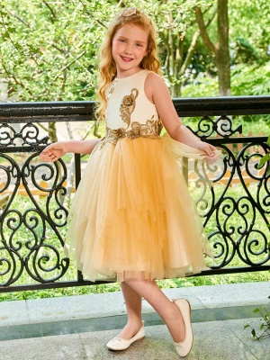 Cute Tulle Scoop Appliques Knee-Length UK Flower Girl Dress
