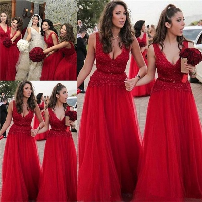 V-neck Beads Appliques Red Bridesmaid Dresses UK Spring | Tulle Cheap Long Bridesmaid Dress Online_3