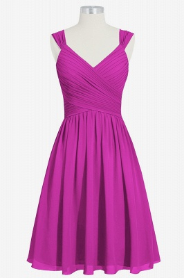 Summer Chiffon Ruffle Two Straps knee Length Bridesmaid Dresses UK_4