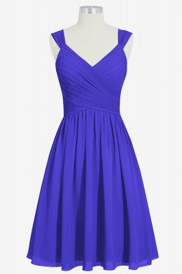 Summer Chiffon Ruffle Two Straps knee Length Bridesmaid Dresses UK_3