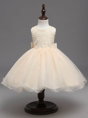 Cute Tulle Lace Scoop Sleeveless UK Flower Girl Dress with Bowknot