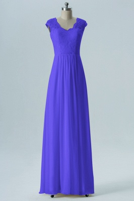 Fall Chiffon Bridesmaid Dresses UK | Lace Sleeveless Floor Length Maid of Honor Dresses_3