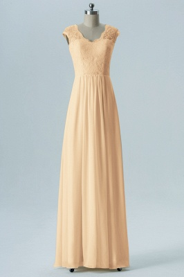 Fall Chiffon Bridesmaid Dresses UK | Lace Sleeveless Floor Length Maid of Honor Dresses_5