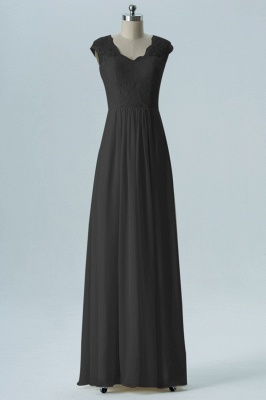 Fall Chiffon Bridesmaid Dresses UK | Lace Sleeveless Floor Length Maid of Honor Dresses_4