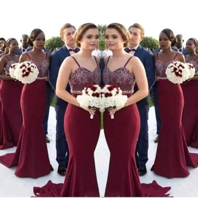 Spring Sexy Trumpt Bridesmaid Dresses UK | Spaghettis Straps Beaded Wedding Party Gowns Online_3