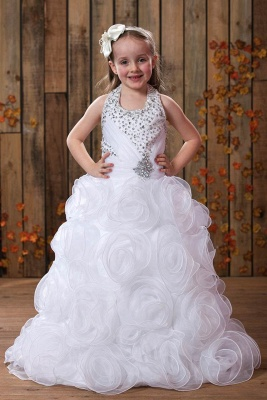 Modest Organza Halter Sleeveless UK Flower Girl Dress with Embellishing_1