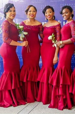 Elegant Long Sleeve Bridesmaid Dress | Sexy Trumpt Lace Fuchsia Maid of Honor Dress_1