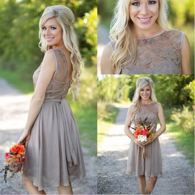 Short Chiffon Bridesmaid Dresses UK Lace Top with Sash Modest Maid of the Honor Dresses_6