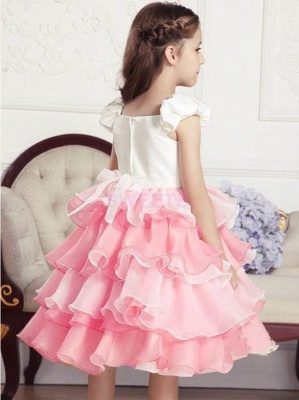 Modest Organza Satin Short Sleeve Layered UK Flower Girl Dress_3