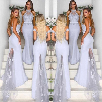 Lace Appliques Airy Blue Bridesmaid Dresses UK Cheap | Spring Long Maid of Honor Dresses Online_3