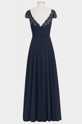 Fall Chiffon Lace Cap Sleeves Floor Length Bridesmaid Dresses UK_2