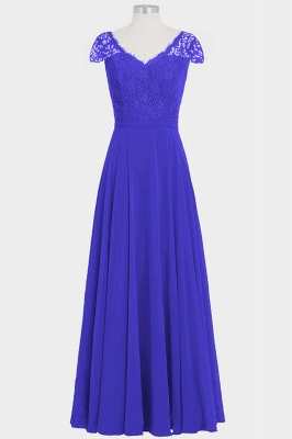 Fall Chiffon Lace Cap Sleeves Floor Length Bridesmaid Dresses UK_3