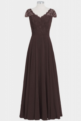 Fall Chiffon Lace Cap Sleeves Floor Length Bridesmaid Dresses UK_5