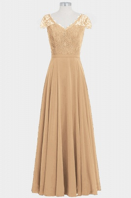 Fall Chiffon Lace Cap Sleeves Floor Length Bridesmaid Dresses UK_4