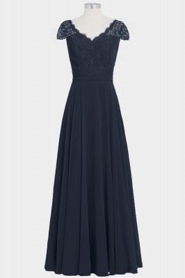Fall Chiffon Lace Cap Sleeves Floor Length Bridesmaid Dresses UK_1