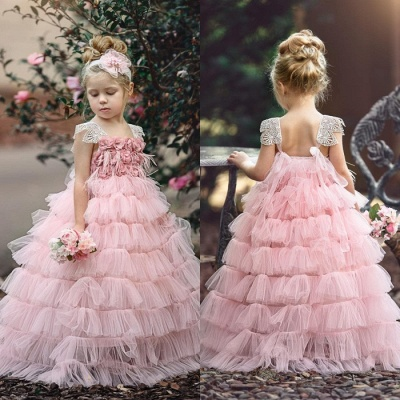 Pink Layers Tulle UK Flower Girl Dress | Lace Princess Girls Pageant Dress BA9852_4