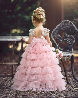 Pink Layers Tulle UK Flower Girl Dress | Lace Princess Girls Pageant Dress BA9852_3