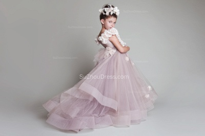 Sweep Train UK Flower Girl Dresses Flowers Tiered Draped Cute Puffy Organza Pink Pageant Dress_1