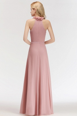 Elegant Summer Chiffon Bridesmaid Dresses UK | Halter Ruffles Long Formal Dresses_5