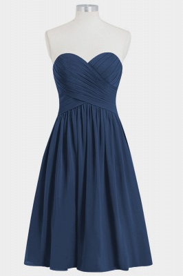 Fall Chiffon Strapless Sweetheart Knee Length Bridesmaid Dresses UK with Ruffles_5