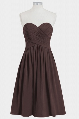 Fall Chiffon Strapless Sweetheart Knee Length Bridesmaid Dresses UK with Ruffles_4