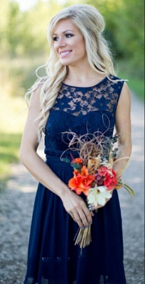 Navy Blue Lace Short Bridesmaid Dresses UK | Fall Long Wedding Party Dresses_2